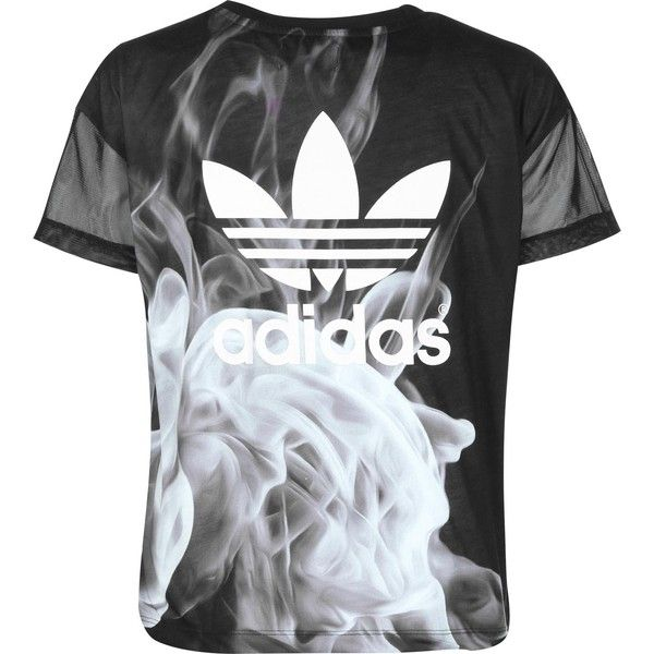 882963d13af Adidas White Smoke W T-shirt black grey ($42) ❤ liked on Polyvore featuring  tops, t-shirts, grey tee, grey top, white tee, adidas tee and white t shirt
