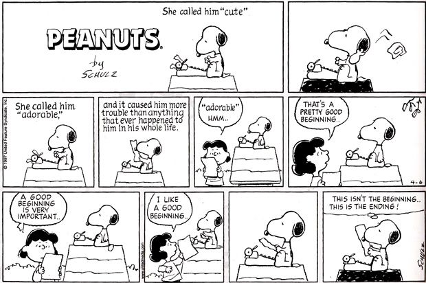 Snoopy, on writing.