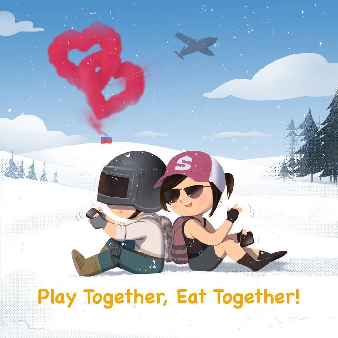 Happy Valentine S Day Tag Your Mate With Whom You Would Love To Have The Chicken Dinner Today In 2020 Cute Cartoon Wallpapers Mobile Wallpaper Game Wall Mobile Wallpaper Mobile