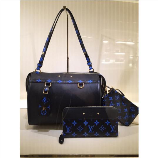 982937388b12 Louis Vuitton Noir Bleu Monogram Canvas Speedy Amazon MM Bag   Zippy Wallet    Pochette Accessoires