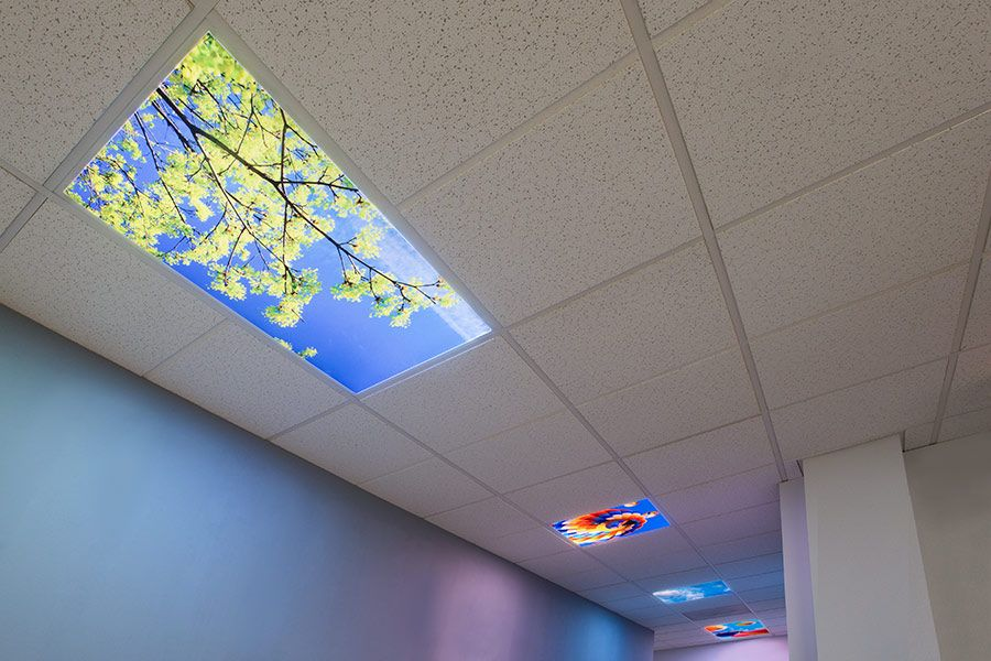 Led Skylight W Sun Beams Skylens 2x4 Dimmable Led Panel Light Surface Mount Drop Ceiling Dimmable Led Lights Led Commercial Lighting Led Panel Light