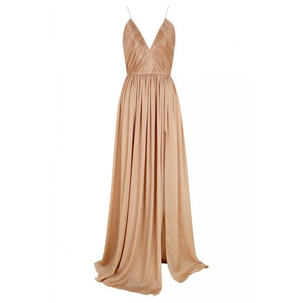 Long muslin dress in nude (£1,005) ❤ liked on Polyvore featuring dresses, drape dress, white dress, nude dresses, muslin dress and long length dresses