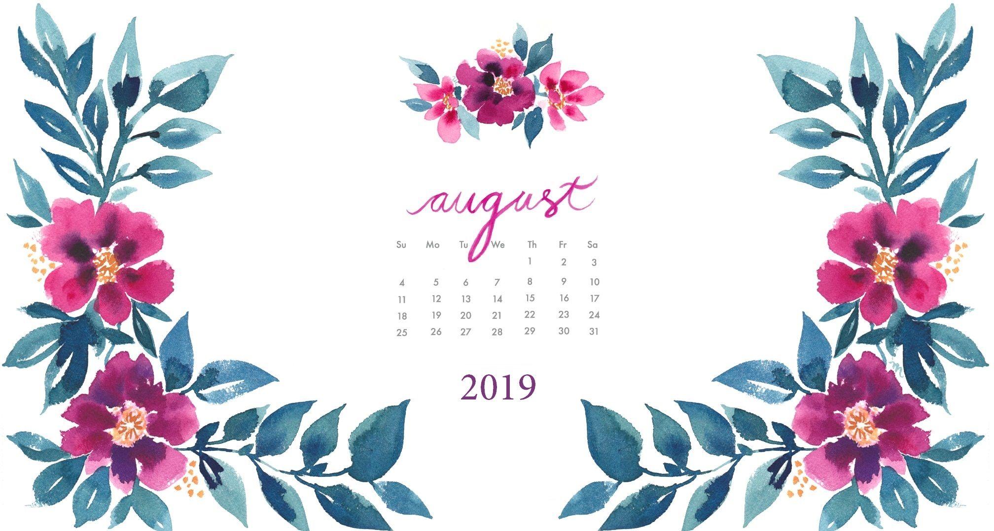 August 2019 calendar desktop wallpaper with images