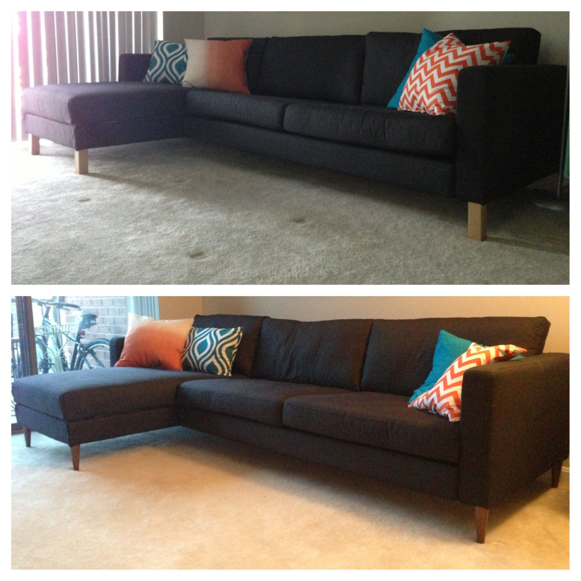 Ikea Karlstad Legs: Hack Your Ikea Karlstad Sofa And Chaise With Mid Century