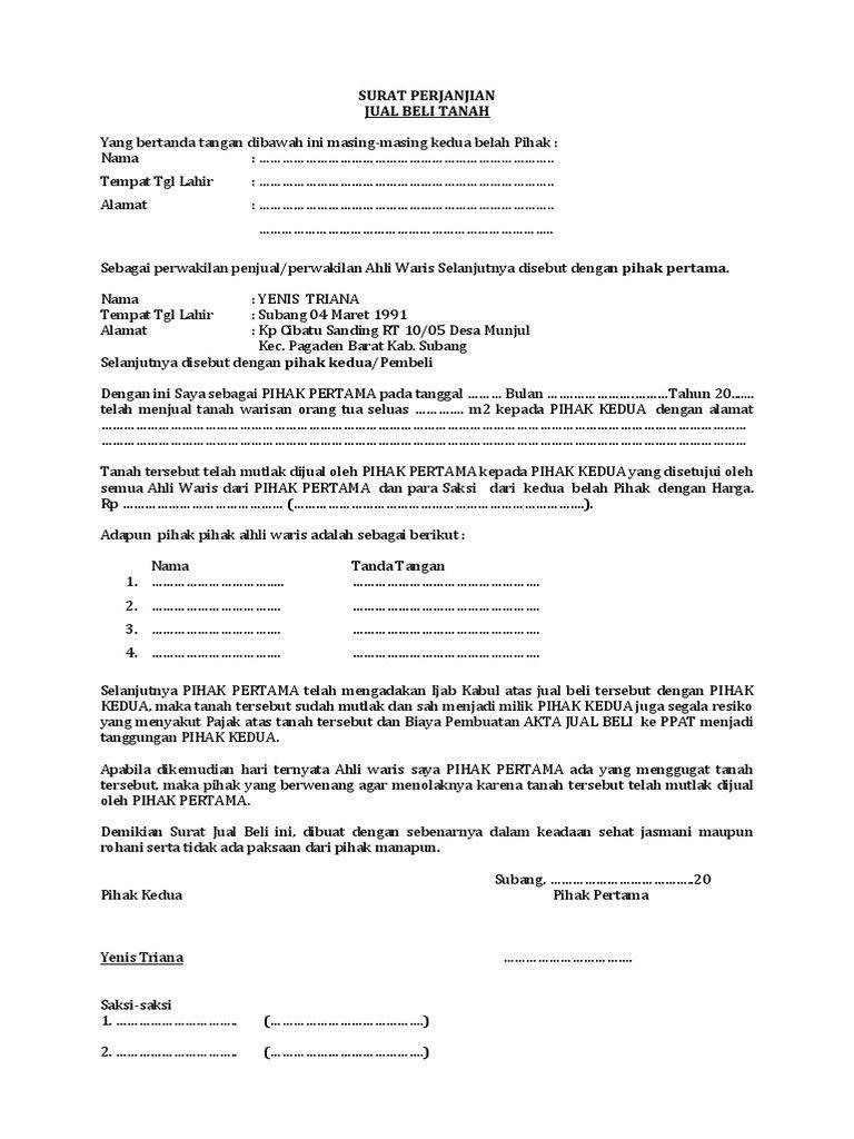 Contoh Surat Perjanjian Jual Beli Tanah Warisan Terlengkap
