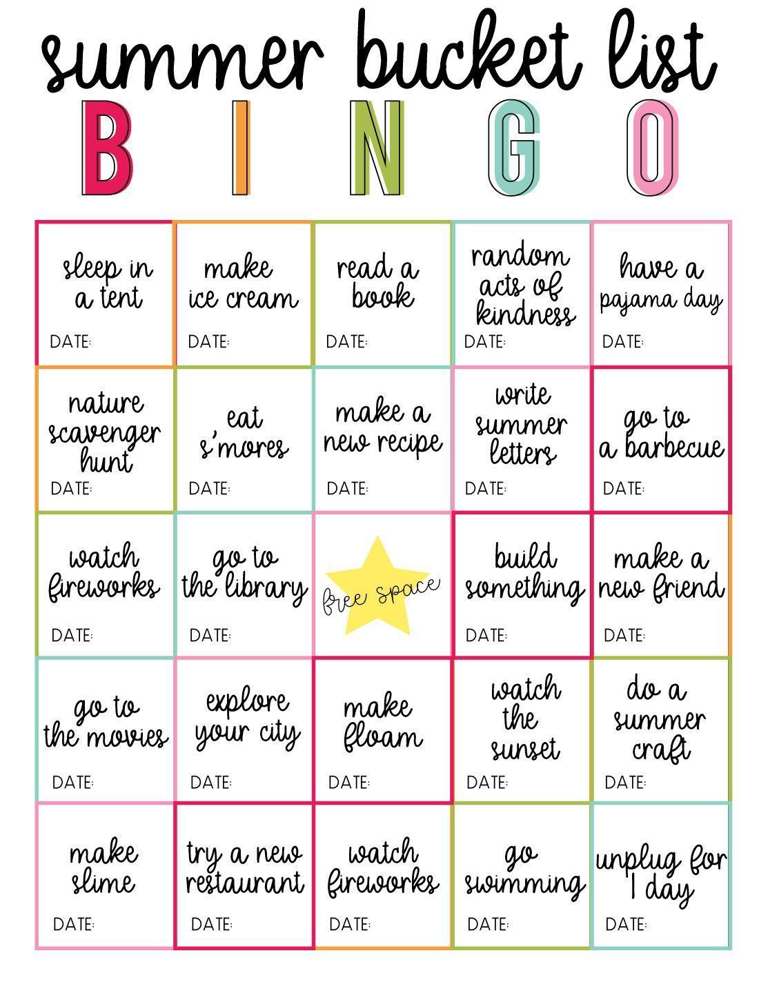 Printable Summer Vacation Bucket List Bingo