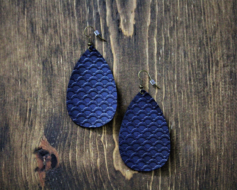 Navy Blue Earrings Faux Leather Earrings Blue Earrings Navy Blue Faux Leather Earrings