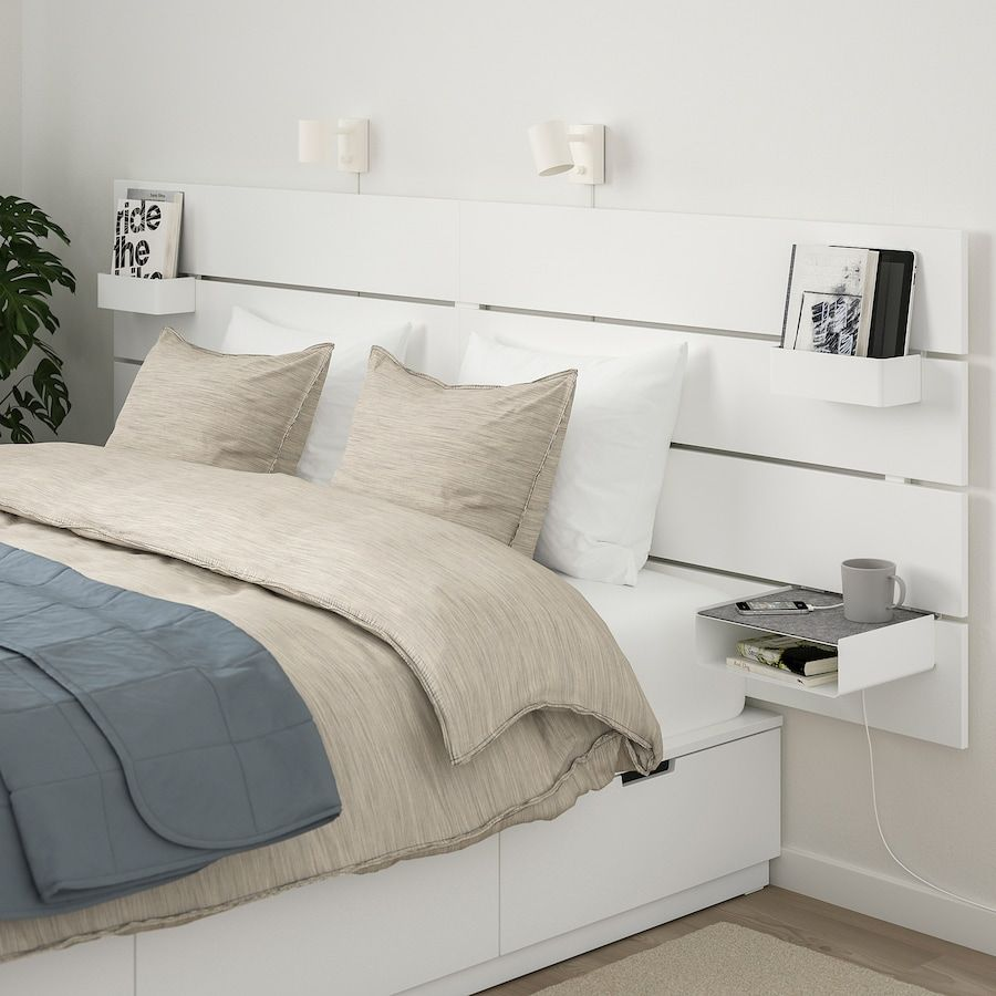 Nordli Bed With Headboard And Storage White King Ikea