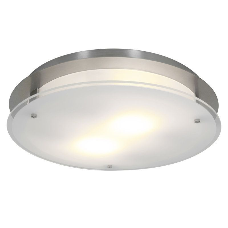 Access Lighting 50038 VisionRound 2 Light Flush Mount Ceiling Fixture Brushed Steel / Frosted Indoor Lighting Ceiling Fixtures Flush Mount