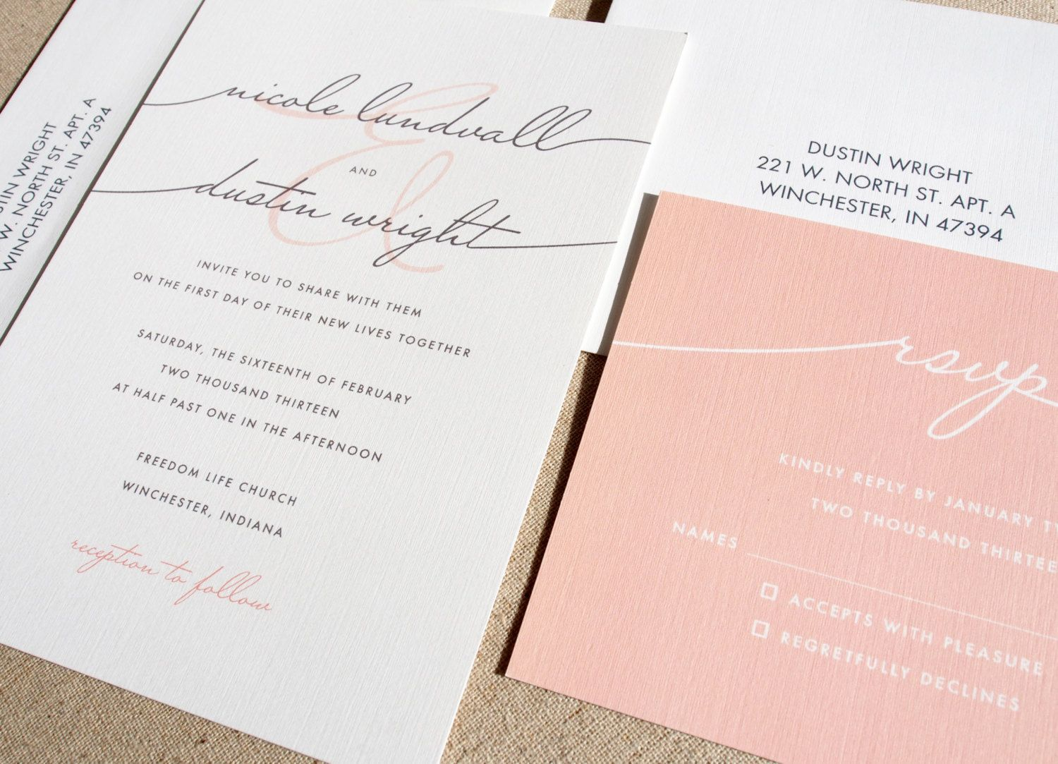 Invitation Idea Handwritten Font With Reversed Colours On Rsvp Card