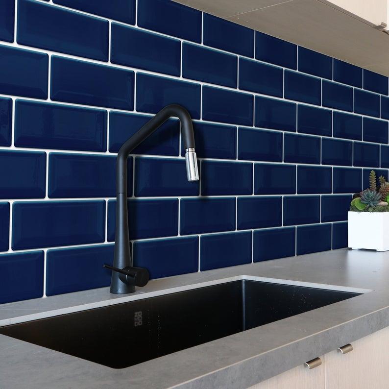 deep blue glossy 3d metro sticker tiles