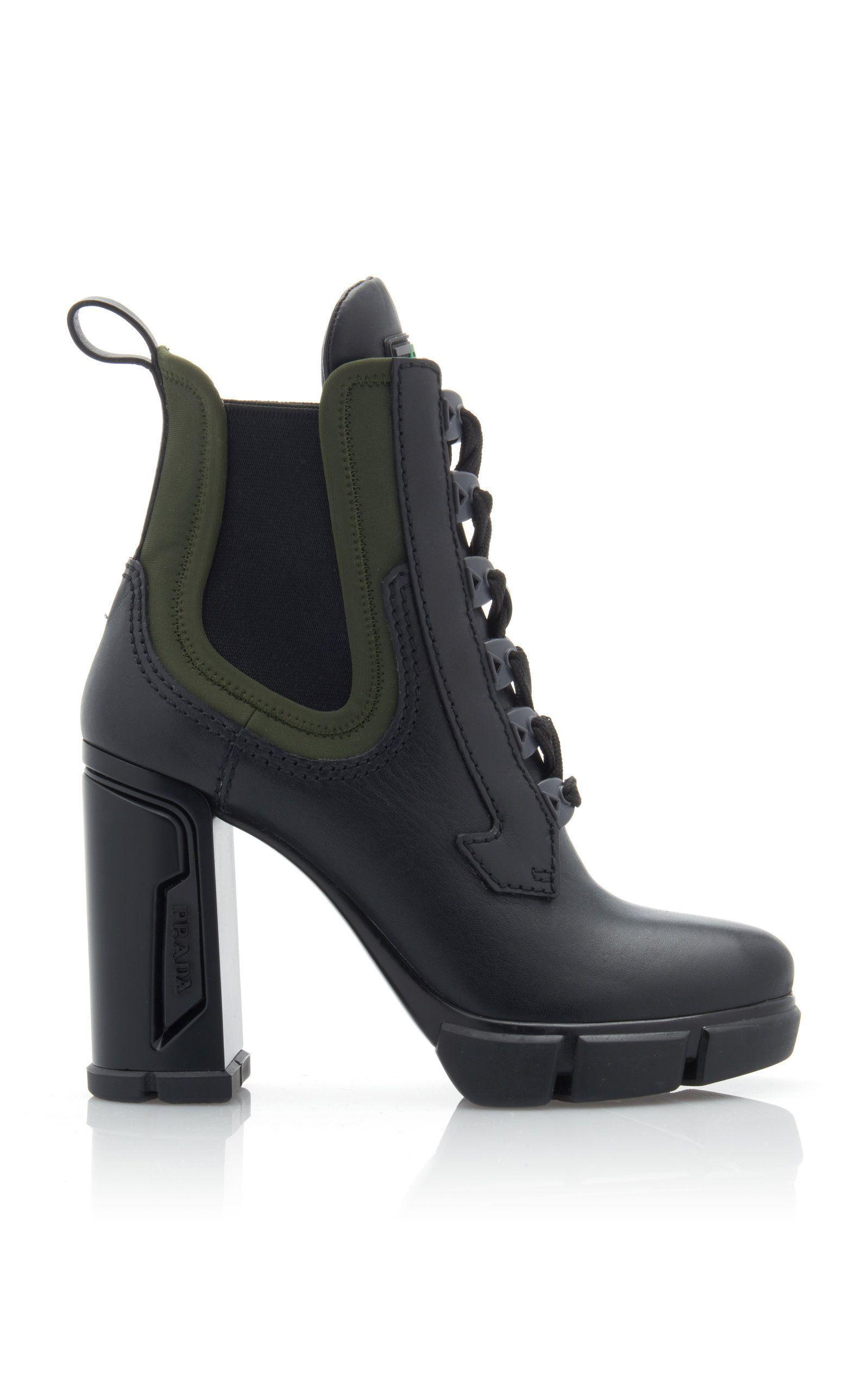 Neoprene-Trimmed Leather Platform Ankle
