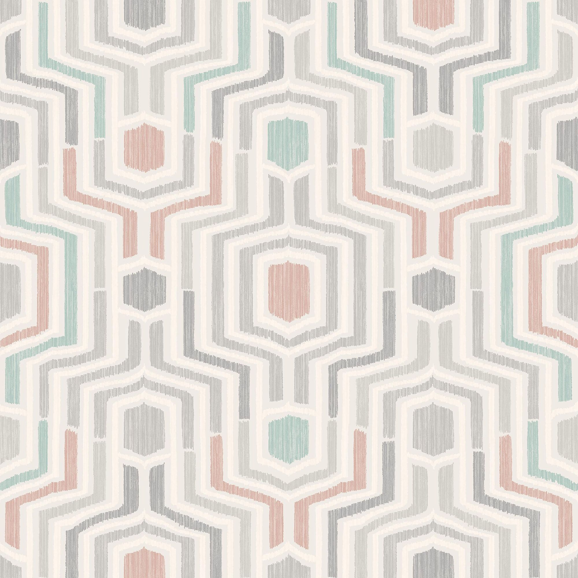 Gold Meso Green & Blush Geometric Matt Wallpaper