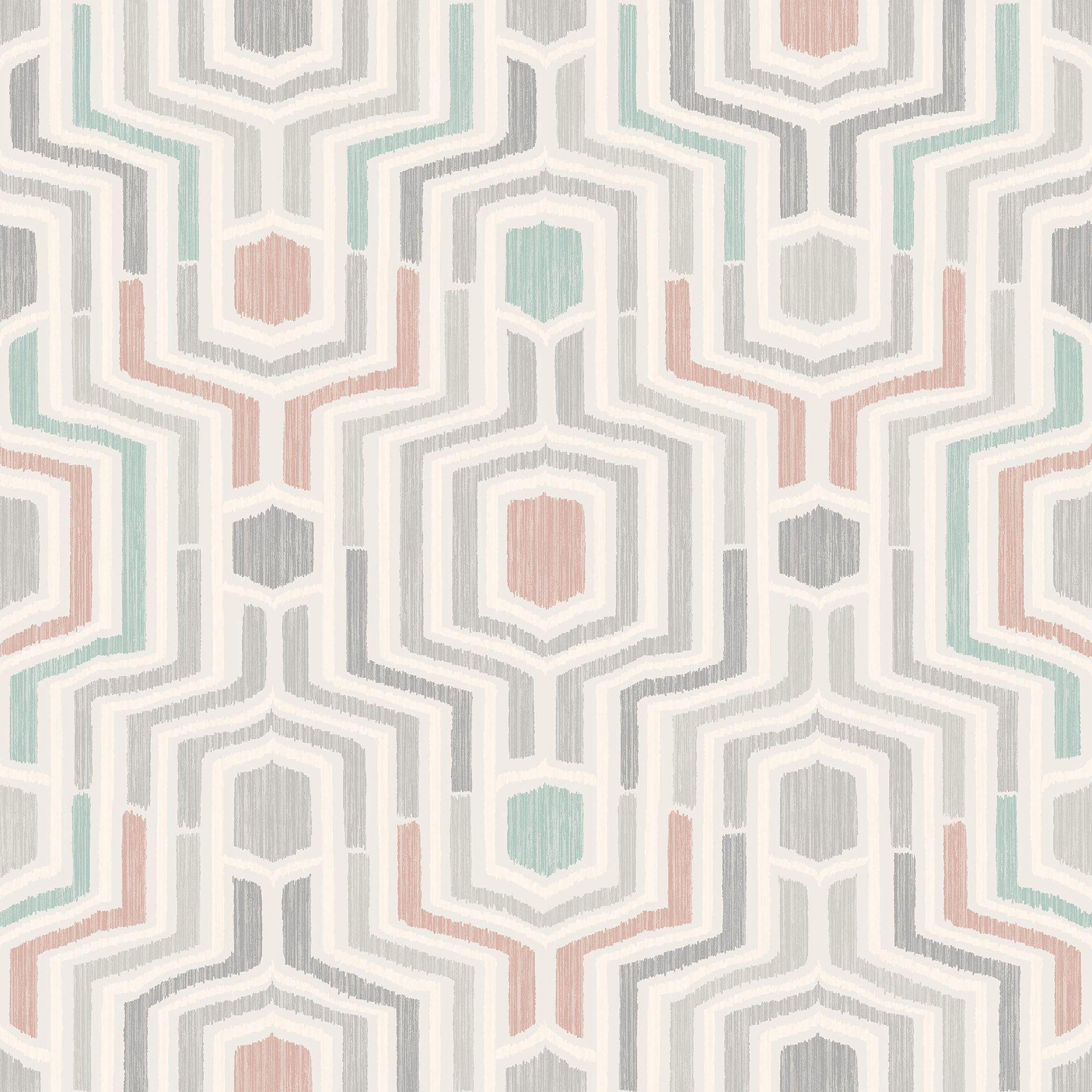 Gold Meso Green & Blush Geometric Matt Wallpaper