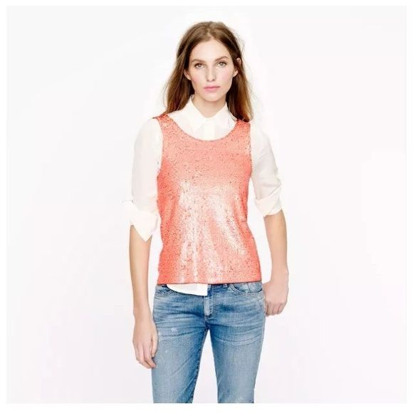 New Jcrew sequin heathered tank neon peach Photo 4 J. Crew Tops Tank Tops