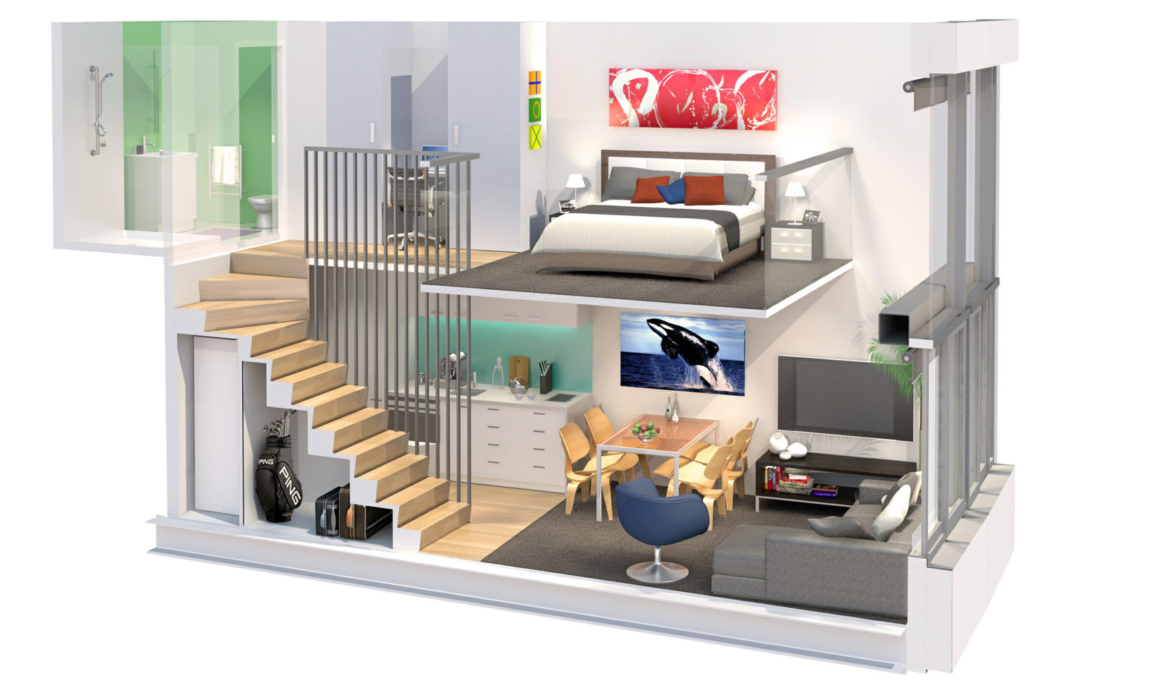 3dunit Apartment Design Tiny House Design Loft Apartment
