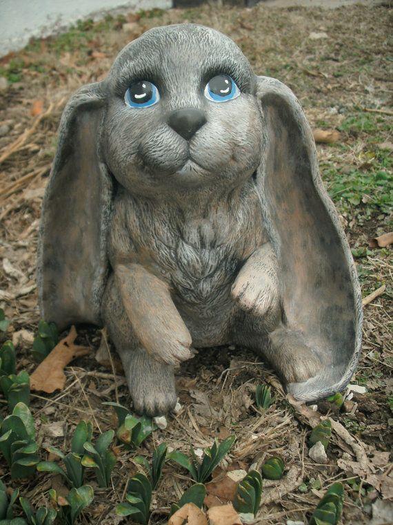 Large Ceramic Rabbit Yard Ornament Brown Tan By