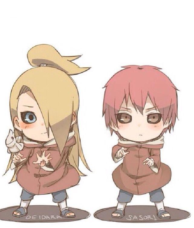 Deidara & Sasori Chibi | Chibi Anime | Naruto, Akatsuki e Sasuke