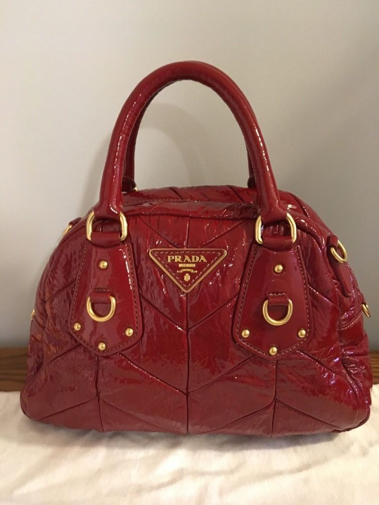 a085e8f19a06 PRADA Vernice Handbag Burgundy Red Chevron Quilt Patent Leather Bowler -  MINT  fashion  clothing  shoes  accessories  womensbagshandbags (ebay link)