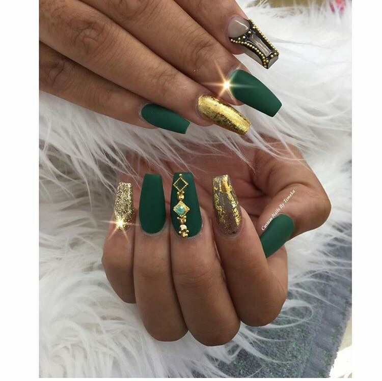 Green Gold Nails