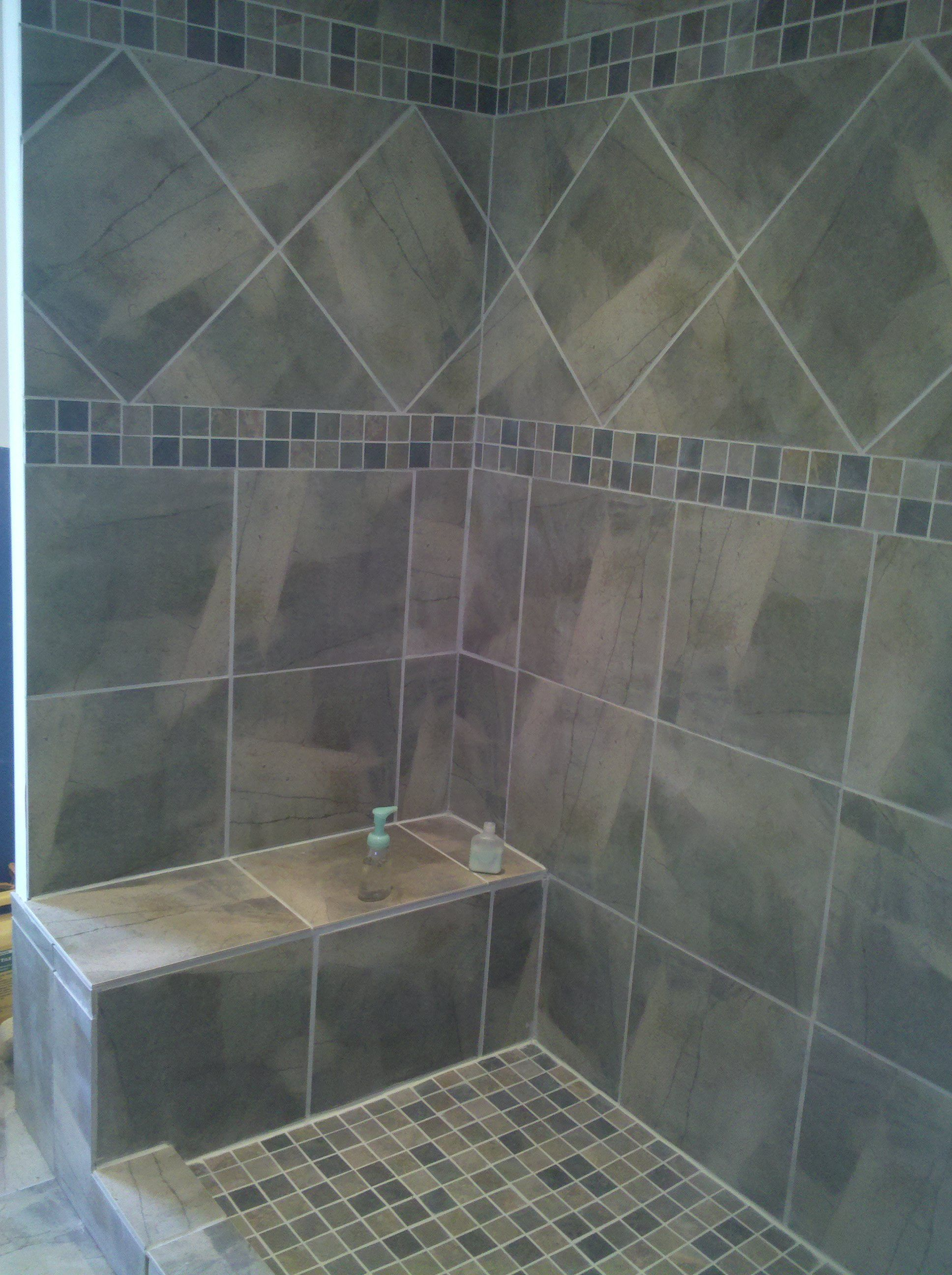Sophisticated gray diagonal tiled shower patern with Bathroom tile ideas mosaic