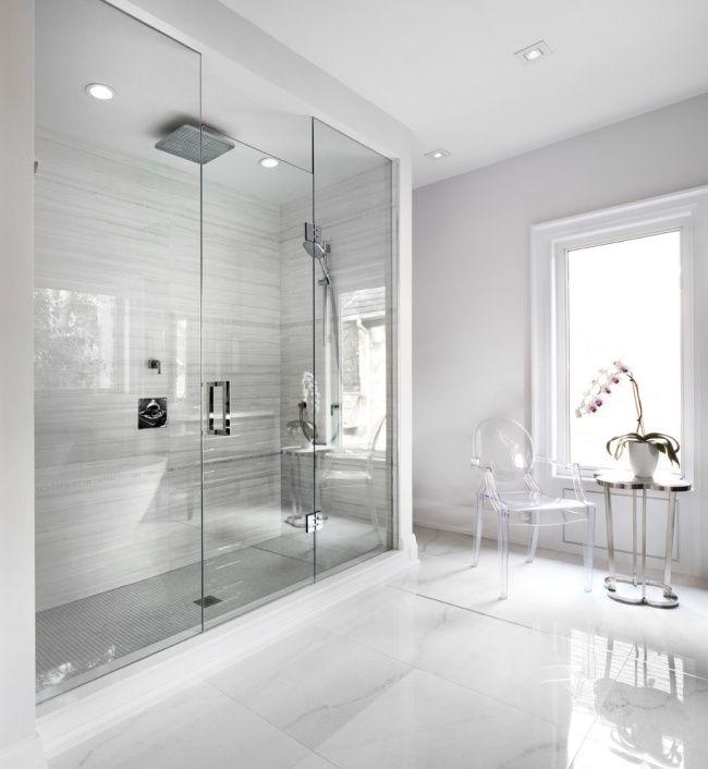minimalistisches bad design begehbare glas dusche graue wandfliesen