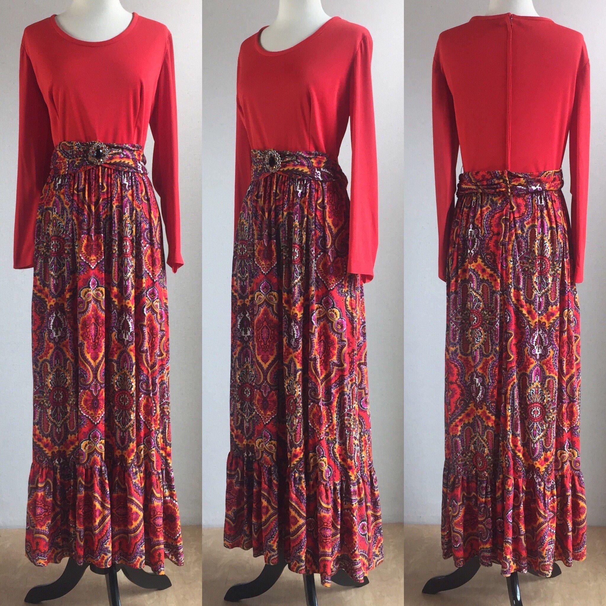 1960s vibrant folk art print collarless shirtwaist dress