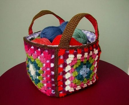 Crochet Inspiration ~granny square basket