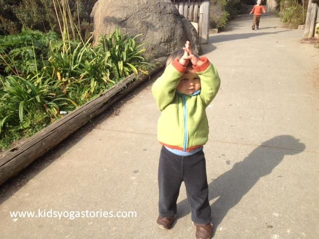 Giraffe ~ Hands Stretched Up Over Head (kids yoga pose)