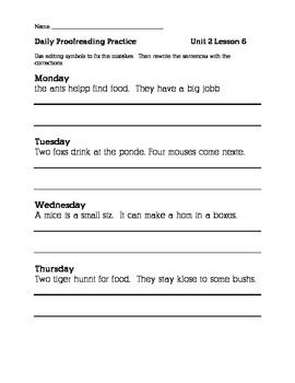 Editing worksheets 2nd grade