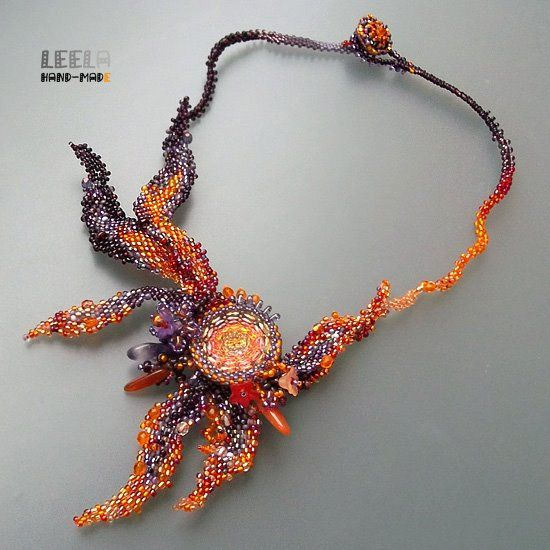 Leela ....flame necklace, freeform...