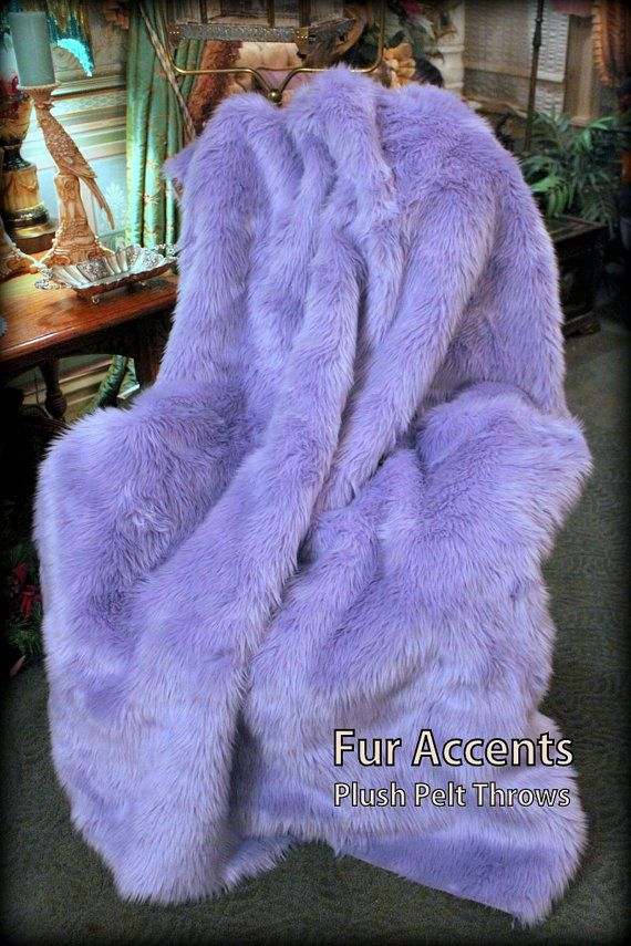 6ft Faux Fur Light Purple Gy Mink Throw Blanket Bed Spread Coverlet Lavender Orchid Soft Ultra Suede Lining New