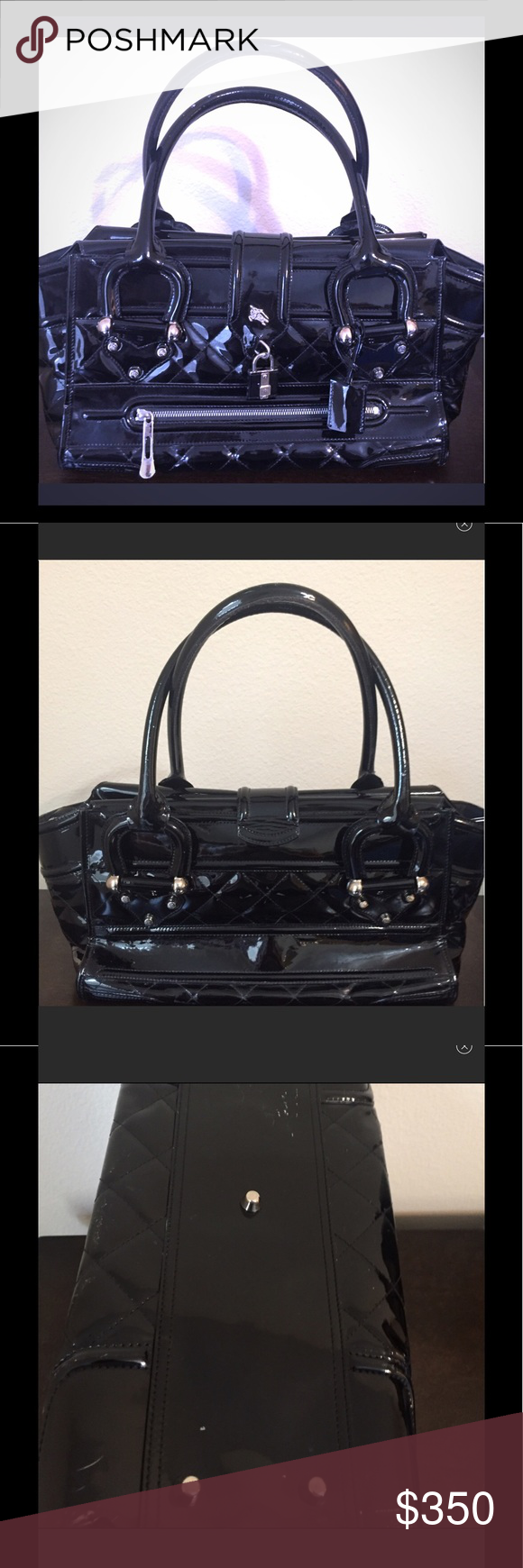 e3bb09e2f11c Burberry Manor Patent leather large tote Pre-loved. Authentic. Date code  ITTIVGRO58CAL. Handles has scuffs as you can see. Last photo is stock photo.