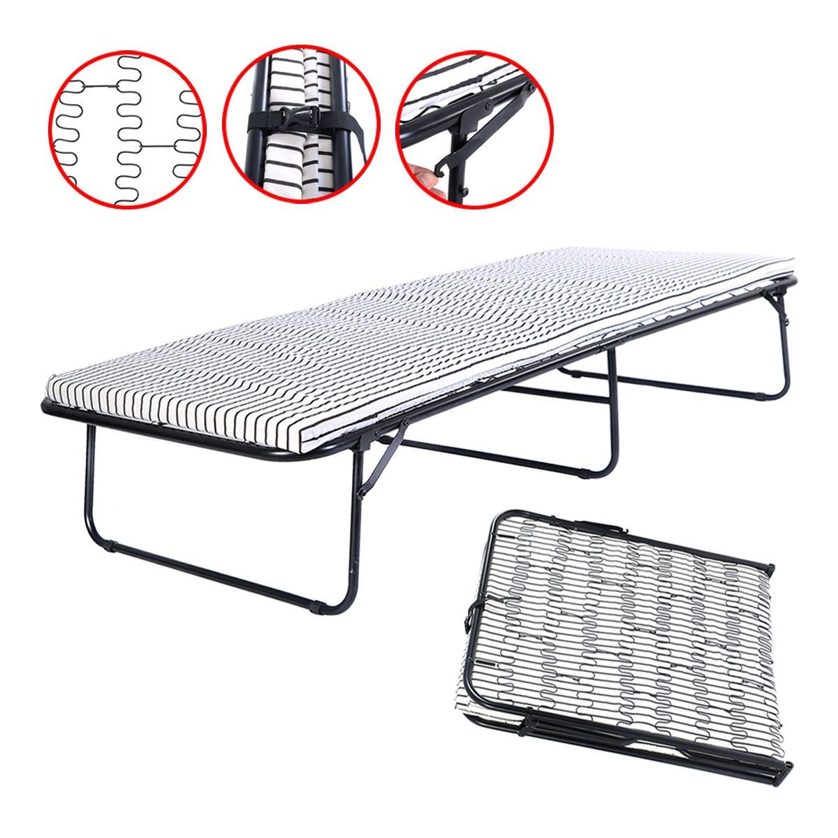 folding metal guest bed spring steel frame mattress cot sleep single