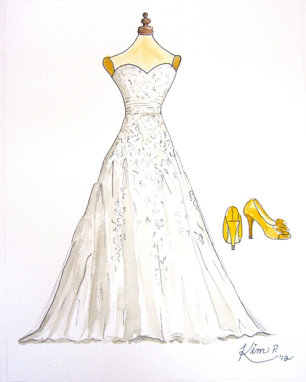 Custom Wedding Dress Pen And Watercolor Painting 50 00 Via Etsy