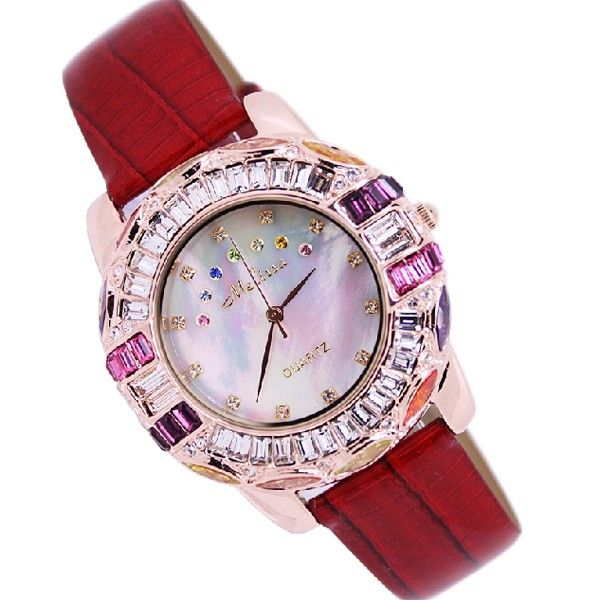Square Crystal Studded Leather Belt Women's Luxury Watch - USD $110.95