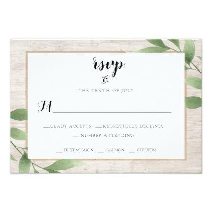 rustic country wood greenery wedding rsvp card wedding invitations