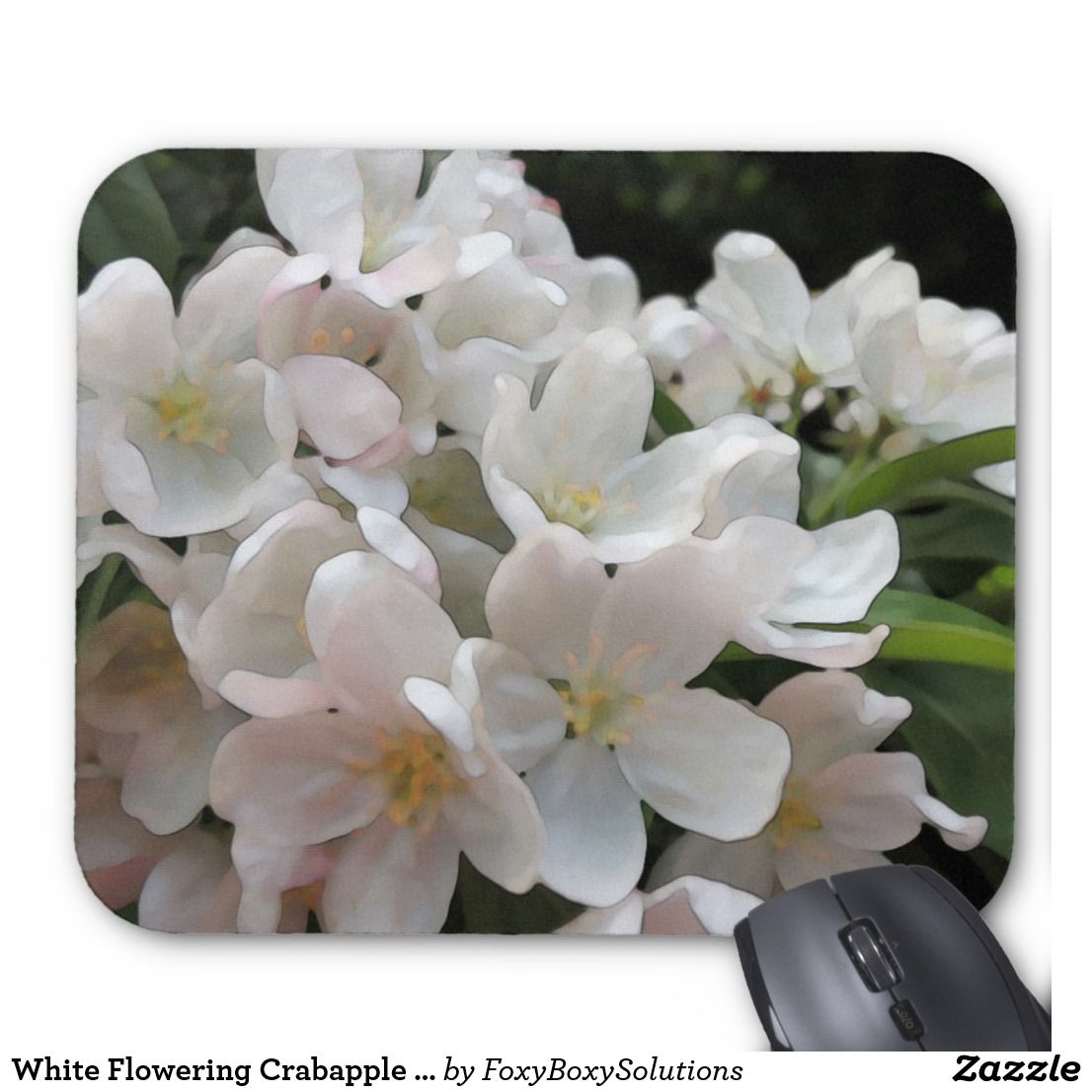 White Flowering Crabapple Tree Mouse Pad Flowering Crabapple Tree