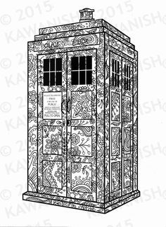 who tardis adult coloring page by kawanish on etsy