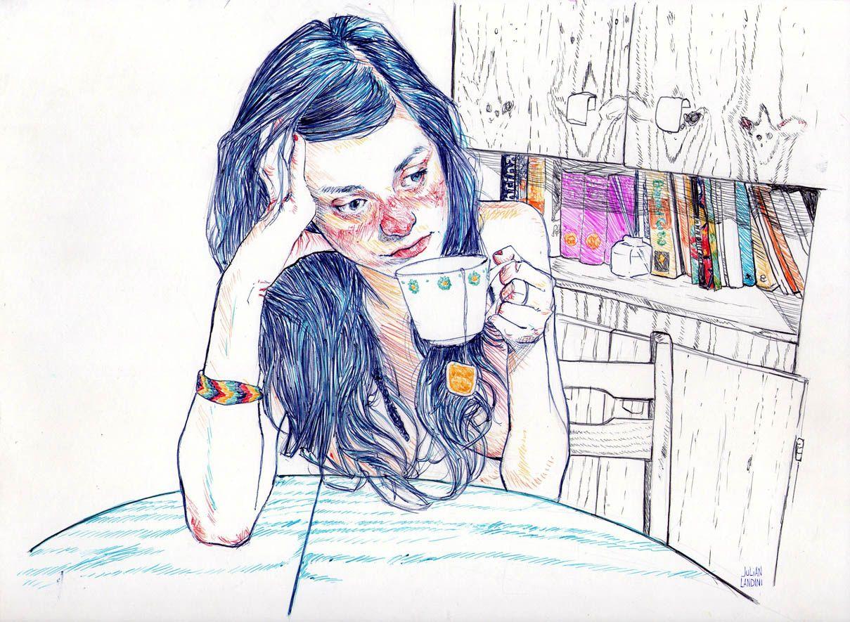 Уставшая девушка картинки нарисованные