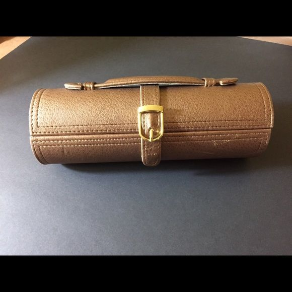Leather Jewelry Cylinder Roll Travel Case w Snaps Tuscan design