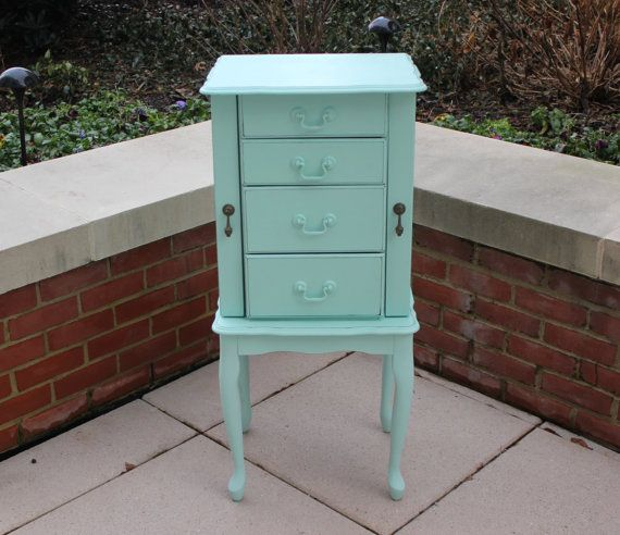 Shabby mint green vintage wood jewelry armoire Standing armoire