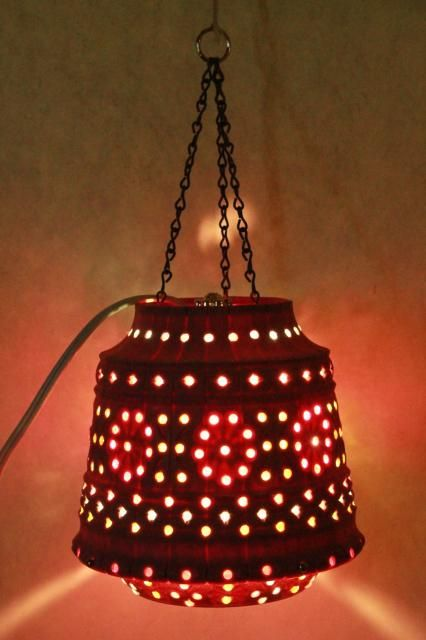 Vintage Pink Plastic Flower Pot Swag Lamp W Beads Retro Hanging Lantern Light Plastic Flower Pots Hanging Lantern Lights Vintage Flower Pots
