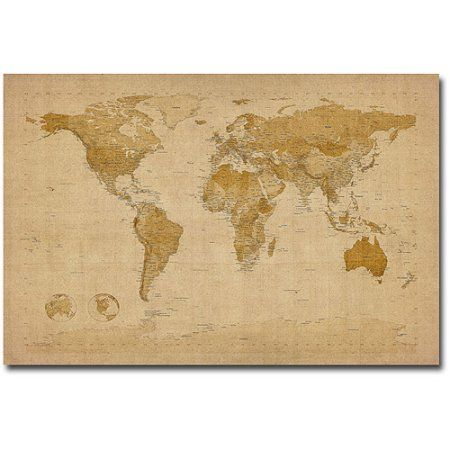 Trademark Art Antique World Map Canvas Art by Michael Tompsett Size
