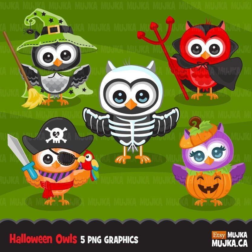 Halloween owls clipart cute animal in halloween costumes