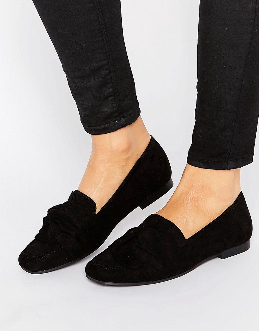 NEW LOOK SUEDETTE LOAFERS - BLACK