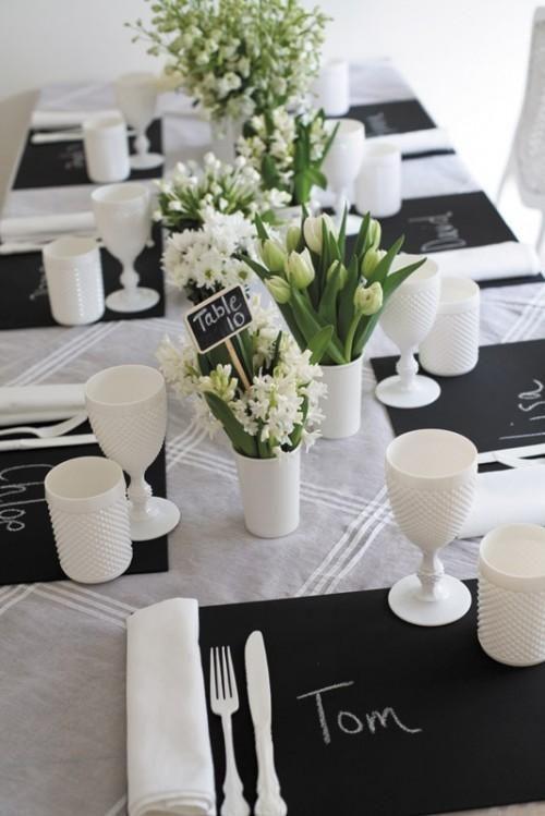 52 Elegant Black And White Wedding Table Settings | Weddingomania - Weddbook & 52 Elegant Black And White Wedding Table Settings | Wedding table ...