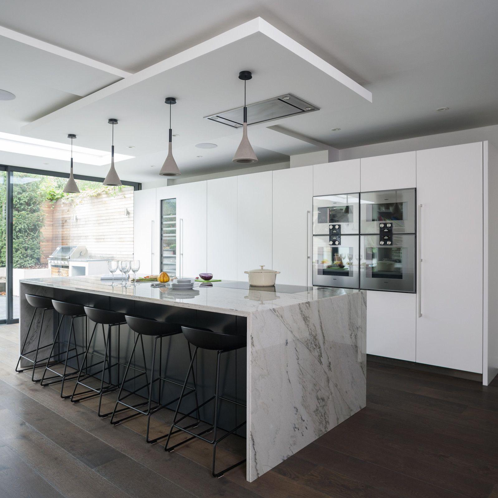Bespoke Kitchen Ideas Cabinets Cupboards Storages White Modern Kitchen Black Kitchen Island White Kitchen Island