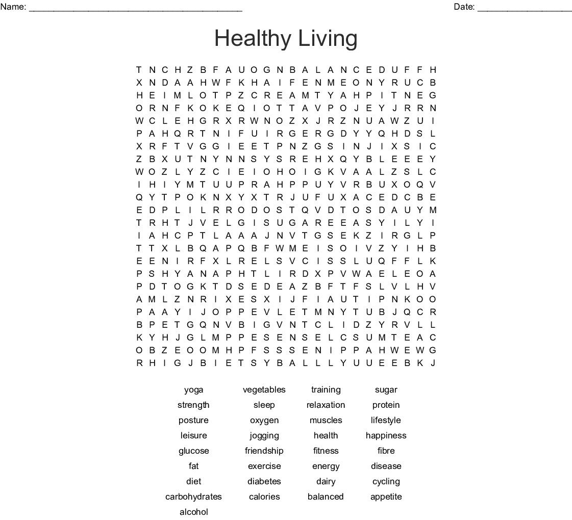 3 Worksheet Playground Word Search Healthy Living Word