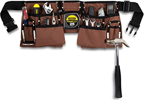 11 Pocket Brown And Black Heavy Duty Construction Tool Belt Work Apron Tool Pouch With Poly Web Belt Quick Release Buckle Adjusts From 33 Inches All The W